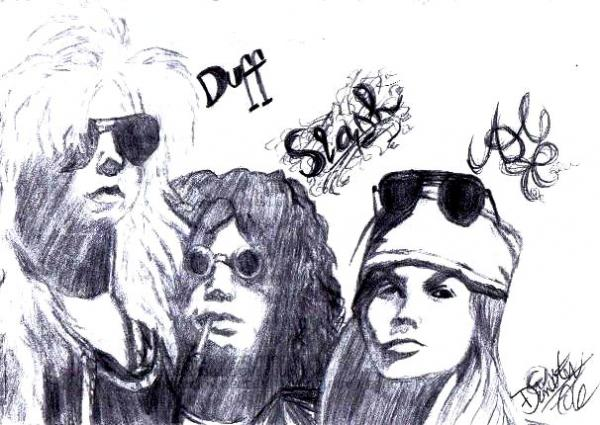 Duff McKagan, Slash, Axl Rose by Harlequinader